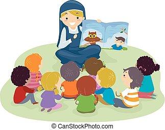 stickman, geitjes, non, lezen, verhaal, illustratie