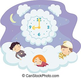 stickman, geitjes, slaap, wolk, tijd