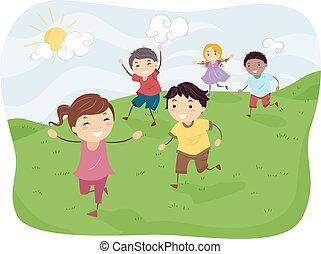stickman, geitjes, spelend, rennende , heuvels