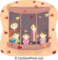 stickman, gezin, autumn leaves