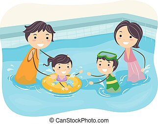 stickman, gezin, pool, zwemmen