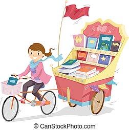 stickman, girl, livre, faire vélo, charrette