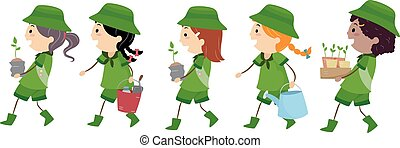 Stickman Girl Scout Tree Planting - Illustration of Girl...