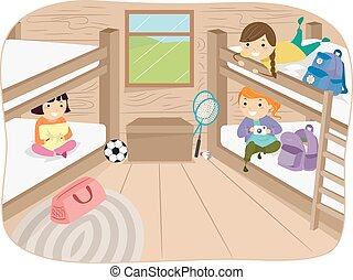 Stickman Girls Cabin - Illustration of Little Girls Sharing...