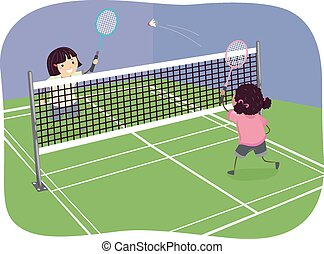Stickman Girls Indoor Badminton - Stickman Illustration of...