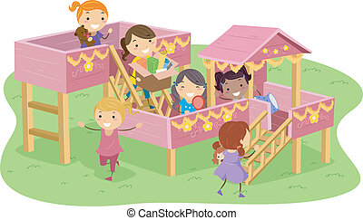 Stickman Illustration Featuring Girls Playing in a Playhouse