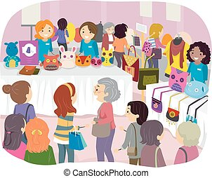 Stickman Illustration of Women Attending a Sewing Expo
