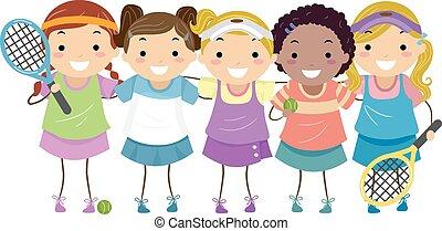 Stickman Girls Tennis - Stickman Illustration of Girls in ...