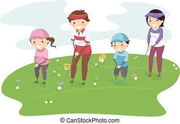stickman, golf, famille