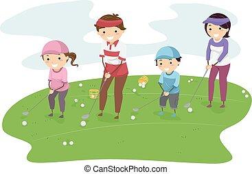 stickman, golfe, família
