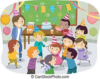 stickman, gosses, école, fêtede l'anniversaire