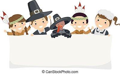 stickman, gosses, bannière, pèlerin, thanksgiving