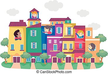 stickman, gosses, coloré, maisons, illustration