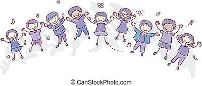 stickman, gosses, indigo, enfants, illustration