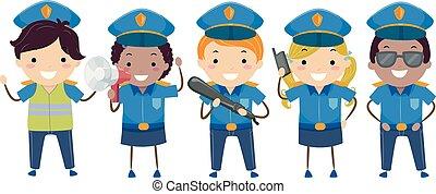 stickman, gosses, surveiller officiers, illustration