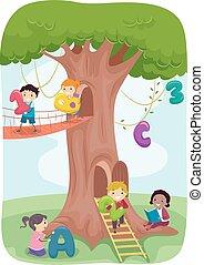 stickman, gra, dzieciaki, drzewo