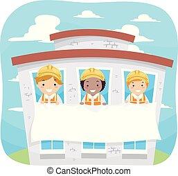 stickman, gyerekek, épület, transzparens, ábra