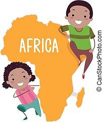 stickman, gyerekek, afrika, ábra, szárazföld