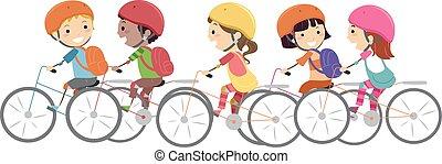 stickman, gyerekek, bicikli sisak