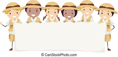 stickman, gyerekek, felfedező, transzparens, ábra