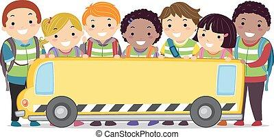 stickman, gyerekek, iskolabusz, transzparens