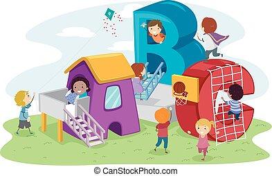stickman, gyerekek, játszótér