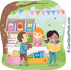 stickman, gyerekek, liget, könyvesbolt, árul