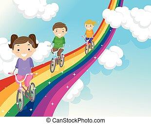 stickman, gyerekek, szivárvány, bicikli út