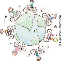 stickman, gyerekek, világ, eco, bringázás, ábra