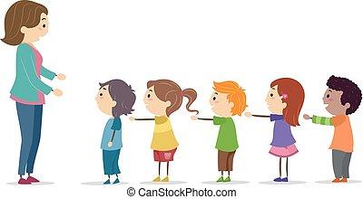 stickman, herb, ilustracja, kreska, nauczyciel, koźlę