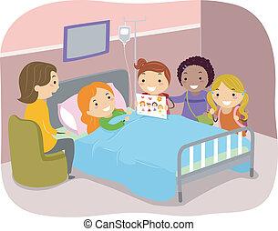 stickman, hospitalar, crianças, paciente, visitando