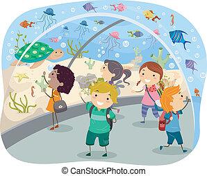 Trip to the Aquarium - Stickman Illustration Featuring ...