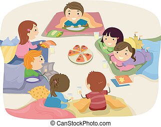 Sleepover - Stickman Illustration Featuring Kids Chatting...