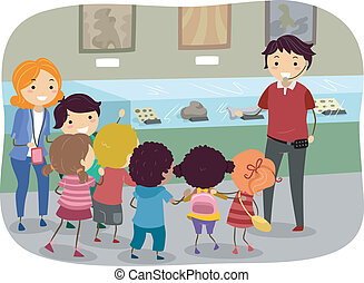 Trip to the Museum - Stickman Illustration Featuring Kids on...