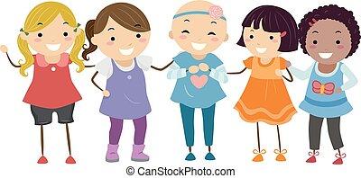 stickman, illustrazione, bambini, ragazze, alopecia, amici