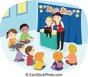 stickman, intérieur, ventriloque, illustration, gosses