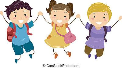 Stickman Jumpshot - Illustration of Kids Jumping Together...