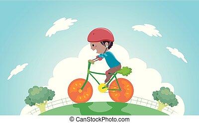 stickman, kölyök, fiú, növényi, bicikli elnyomott, ábra