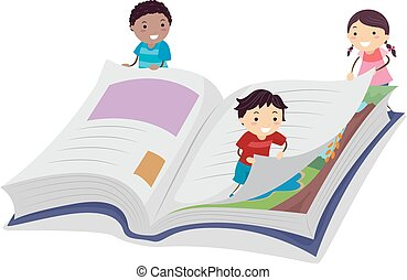 Stickman Kid Book Page Turn