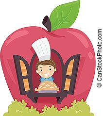 Stickman Kid Boy Apple Pie Bakery Show - Stickman...