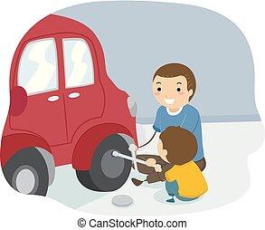 Stickman Kid Boy Father Change Tire Illustration