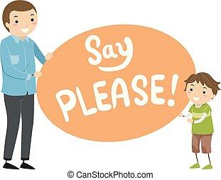 Stickman Kid Boy Father Say Please Illustration