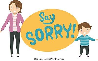 Stickman Kid Boy Mother Say Sorry Illustration