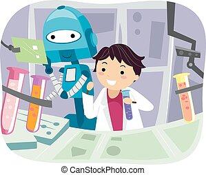 Stickman Kid Boy Robot Laboratory Assistant