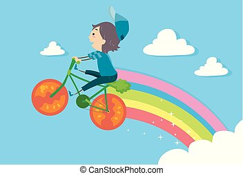 Stickman Kid Boy Vegetable Bike Ride Illustration