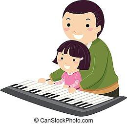 Stickman Kid Girl Father Keyboard Illustration