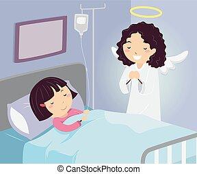Stickman Kid Girl Hospital Guardian Angel Illustration -...