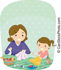 Stickman Kid Girl Mother Sewing Illustration