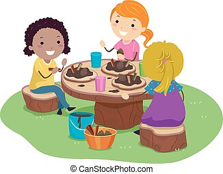 Illustration of Stickman Kids Girls Playing in the Garden with their Mud Pie