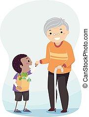 Stickman Kid Help Senior Illustration